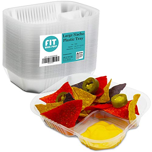 [125 Pack] Nacho Plastic Tray Anti Spill Large Nachos Trays Disposable 2 Compartment Clear Dart Trays Best for Cheese, Sauce or Dips ()