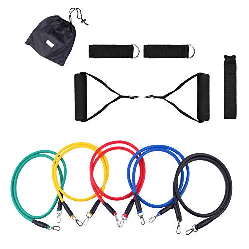 Emaks 11pcs Durable Resistance Set – 5 Stackable Exercise Bands with 1 Door Anchor,2 Handles, 2 Ankle Straps & 1 Carrying Case – For Resistance Training, Physical Therapy, Home Workouts Travel