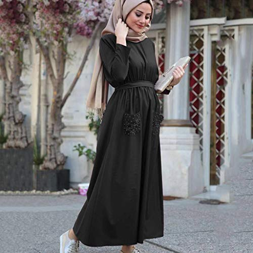 Muslim Dress Women Summer Solid Pearls Embellished Flowy Dress Casual Loose Kaftan Party Long Dresses with Pockets Black by BingYELH Muslim (Image #1)
