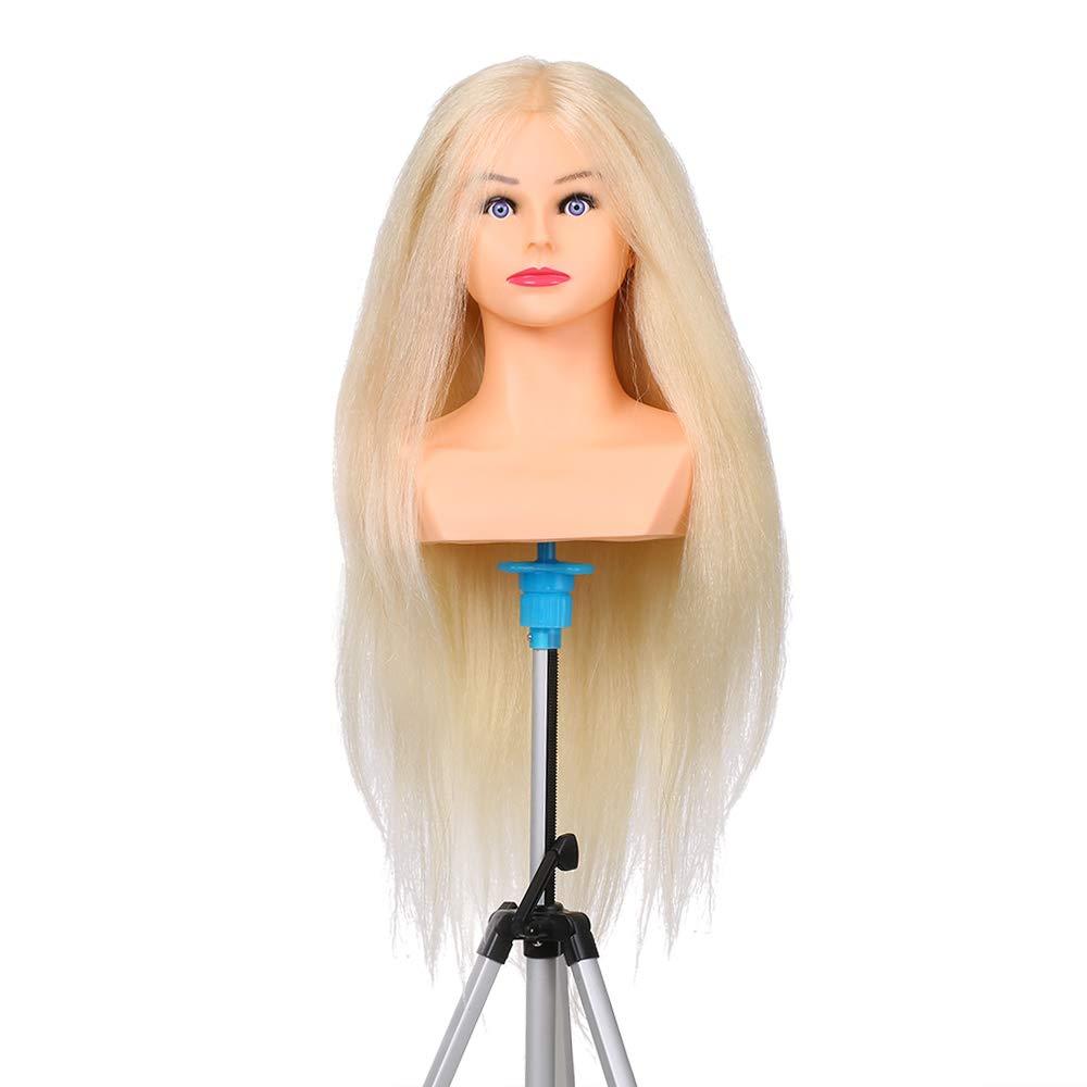 Anself 65cm Beige 100% Real Human Hair Training Head Salon Practice Mannequin Hairdressing Dolls Head Manikin Head…