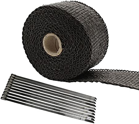 Mintice 5CM X 5M Titanium Lava Exhaust Header Pipe Heat Wrap Stainless Ties Kit Car