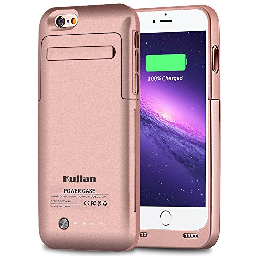 iPhone 6 Battery Case Charger External Battery Backup Charger Case 3500mAh with Kickstand for iPhone 6/6S by Kujian (Rose gold)