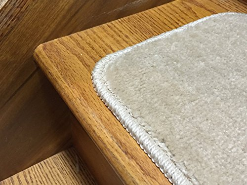 Stair Tread Treads Indoor 7 inch x 24 inch Machine Washable Skid Slip Resistant Carpet Stair Tread Treads Comfy Collection (Set of 13, Dark Cream) by RugStylesOnline (Image #4)