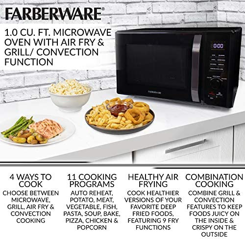 Farberware Black FMO10AHDBKC 1.0 Cu. Ft. 1000-Watt Microwave Oven with Healthy Air Fry, Grill/Convection Function, ECO Mode and LED lighting, Black ...