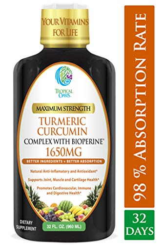 Liquid Turmeric Curcumin w/Bioperine 1650mg Maximum Strength | Highest Potency of Turmeric, Black Pepper & Vitamin C | Anti-Inflammatory, Joint Support & Pain Relief | 98% Absorption Rate | 32 Serv