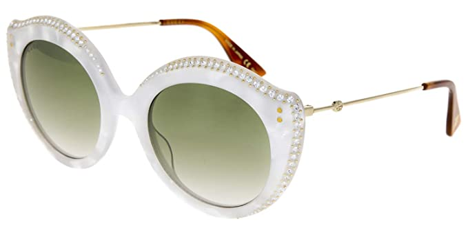 fe3a9df6c66 Image Unavailable. Image not available for. Color  GUCCI CRYSTAL LIPS 0214  Cat Eye White Pearl Green Gradient Sunglasses GG0214S