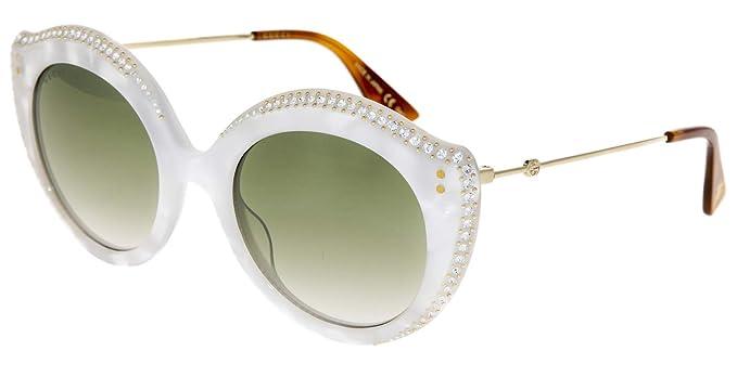 Gucci GG0214S 004 Gafas de Sol, Blanco (4/Green), 52 para ...