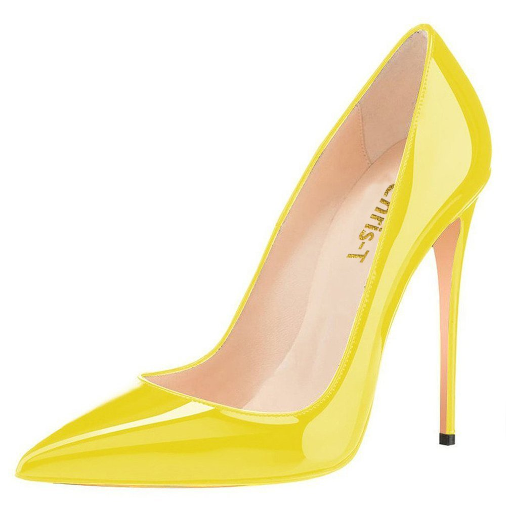 Chris-T Womens Formal Pointed Toe Pumps Basic Shoes High Heel Stilettos Sexy Slip On Dress Shoes Size 4-15 US B075F265N5 7.5 B(M) US|Yellow/Red S0le(bottom)