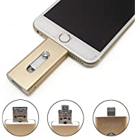 eMart High Capacity Cell Phone 64GB USB Flash Drive i-Flash U-Disk Memory Stick Pen Drive for Computer, iPhone & iPad Series and Android Smart Phone Series - Gold