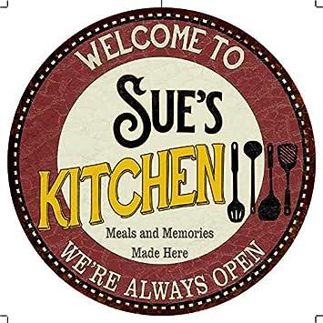 Amazon Com Chico Creek Signs Sue S Kitchen 12 Round Metal
