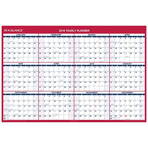 "AT-A-GLANCE Wall Calendar, January 2018 - December 2018, 48"" x 32"", Reversible, Vertical, Horizontal Erasable (PM326P28)"