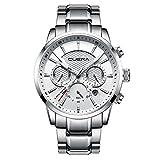 CUENA Men Watch Analog Quartz Classic Stopwatch Waterproof Sport Dress Watch Luxury Wristwatch Silver