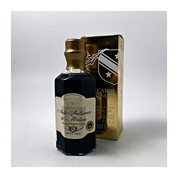 "Manicardi Botticella Oro ""25"" Aged Balsamic Vinegar 1 Aged Balsamico, balsamic vinegar Many uses with vegetables, cheese, and ice cream Produced by artisans in Modena"