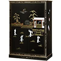 China Furniture Online Computer Armoire, Black Lacquer with Courtyard Pearl Ladies Motif