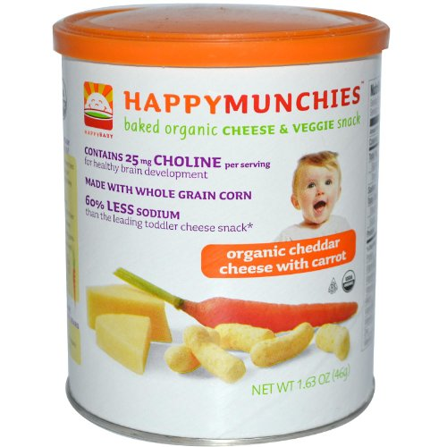 Happy Family happy munchies Cheese & Grain Snack - Cheddar Cheese and Carrot - 1.63 oz
