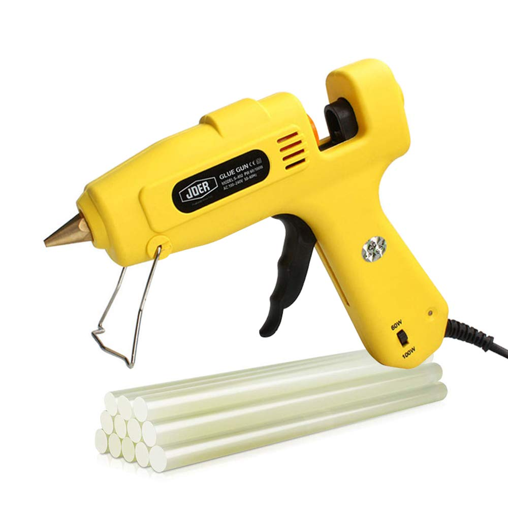 Hot glue gun professional dual power hot glue gun 100W 12 glue stick - interchangeable nozzle suitable for home repair computer electronic maintenance and craft DIY project