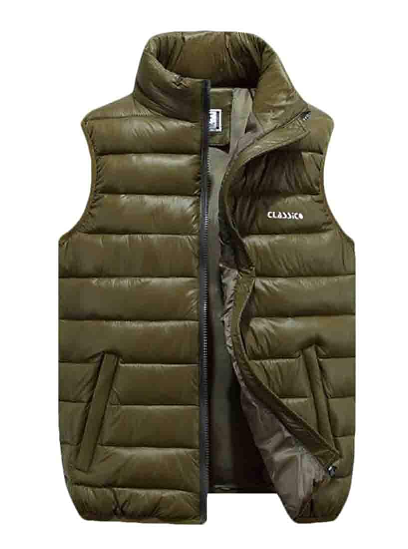 BYWX Men Thickened Casual Stand Collar Zip-Front Plus Size Vest