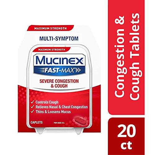 Mucinex Fast-Max Severe Congestion & Cough Multi-symptom Maximum Strength Caplets- Expectorant, Cough Suppressant & Nasal Decongestant, With Dextromethorphan, Phenylephrine & Guaifenesin, 20 Count