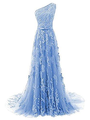 Schulter Ballkleider Abendkleider Damen Spitze Festkleid Hellblau Schleppe Lang Kleid Ein OBUng