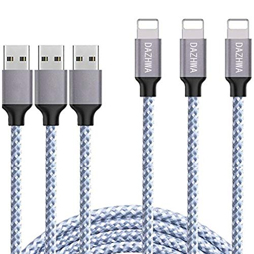 DAZHWA iPhone Charger 3PACK (6FT) Nylon Braided Charging Cable Cord USB Cable Charger Compatible iPhone X/8/7/6s/ 6/ Plus/ 5SE/ 5s/ 5c/ 5, Pad, Pod, and More (Silver)