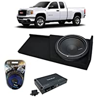 2007-2013 GMC Sierra Extended Cab Truck Rockford Punch P1S210 Single 10 Sub Box Enclosure & R250X1 Amp