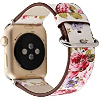 Designer Leather Apple Watch Replacement Band for Women by Pantheon, Over 30 Strap Variations for the 38mm or 42mm, fits Apple iWatch 3, 2, 1 and Nike Edition