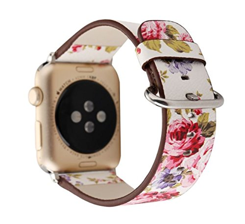 Designer Canvas and Leather Apple Watch Replacement Band for Women by Pantheon for the 38mm or 42mm, fits Apple iWatch 3, 2, 1 and Nike (Or Is Women Watch)