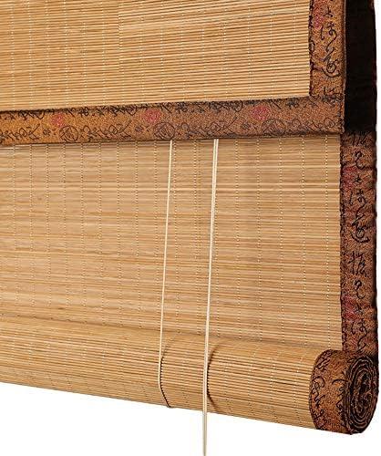 屋外屋内竹製ローラーブラインド、バルコニープライバシー遮光カーテン、和風装飾ガゼボパーティション防水ローラーブラインド、手巻き竹製カーテン、サイズはカスタマイズ可能ZDDAB