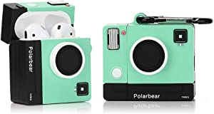 LEWOTE Airpods Silicone Case Cover Compatible for Apple Airpods 1&2[Funny Design][Best Gift for Girls Kids or Woman] (Retro Camera Green)