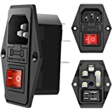 3 Pack Red button AC 250V 10A IEC 320 C14 Panel Mount Plug Adapter Power Connector Socket Black Screw Mount 3 Pins Inlet…
