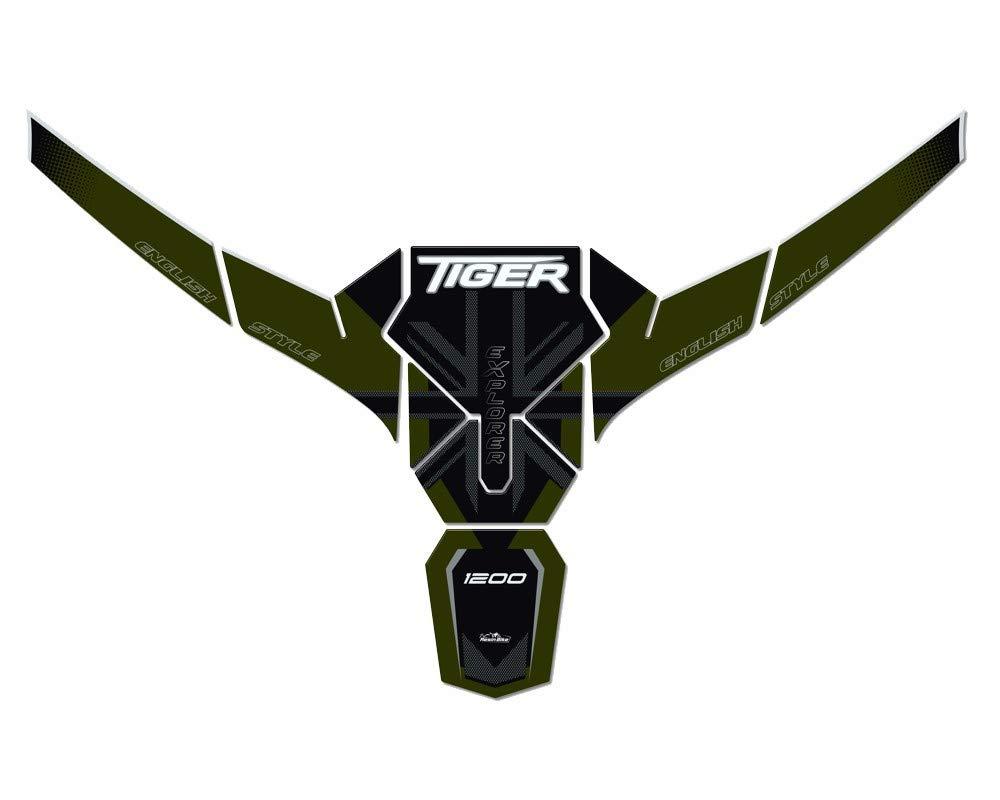 Kit de Pegatinas 3D Collar y Protector de Dep/ósito para Triumph Tiger Explorer 1200-2016-2017 Metal Verde