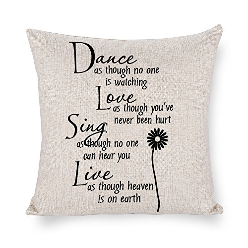 (TINA-R Inspirational Sayings Dance Like No One is Watching Love Like You've Never Been Hurt Cotton Linen Throw Pillow Case Cushion Cover Home Indoor Decorative Square 18X18)