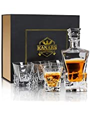 KANARS Iceberg Whiskey Decanter and Glasses Set, Lead Free Crystal Whisky Decanter with 4 Glass Tumbler, Unique Stylish Gift Box, 5-Piece