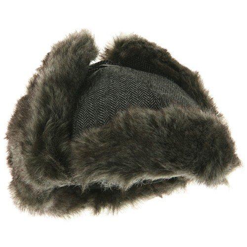Herringbone Trooper Hat - Grey M-L