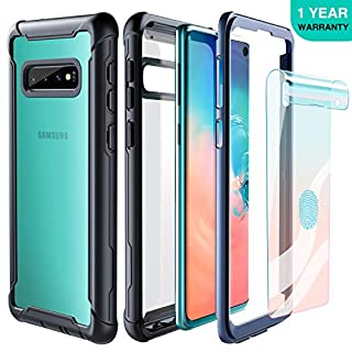 FITFORT Samsung Galaxy S10 Case Full Body Rugged Heavy Duty Clear Bumper Case with Screen Protector, Shock Drop Proof Impact Resist Extreme Durable Protective Cover for Galaxy S10 (2019)