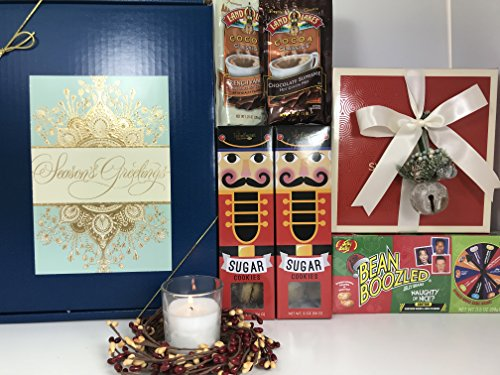 Christmas Nostalgia Holiday Season's Greetings Gift Box Basket Prime-Sweet Shop 9 Truffles, Floral Ring, Candle, Naughty or Nice Bean Boozled Spinner Gift Box, Hot Cocoa, Nutcracker Sugar Cookies
