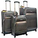 ''E-Z Roll'' Brand 4 Wheels Spinner Checker Pattern 3 piece /Set Luggage/Suitcase (Grey)