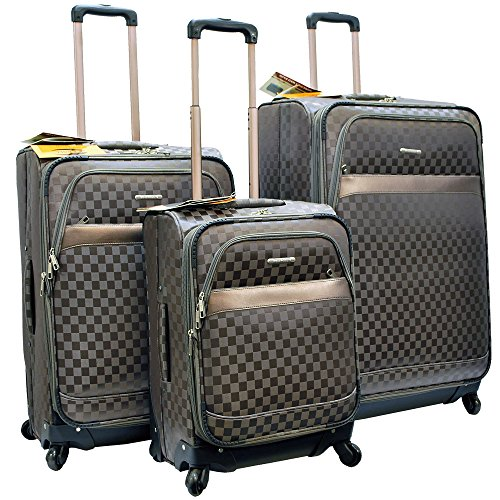 ''E-Z Roll'' Brand 4 Wheels Spinner Checker Pattern 3 piece /Set Luggage/Suitcase (Grey) by E-Z Roll
