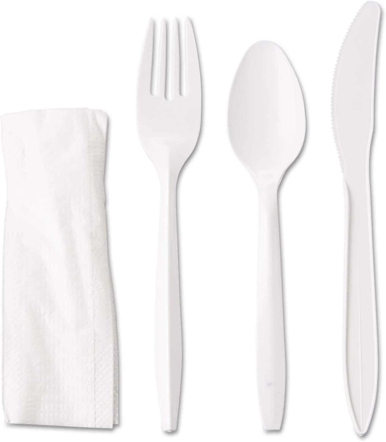 Pantryware Essentials Medium Weight White Plastic Cutlery Set with Napkin Individually Wrapped - 50CT