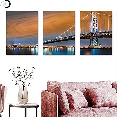 Anniutwo Travel Poster Prints Philadelphia Sky from Camden Triptych Wall Art W 20