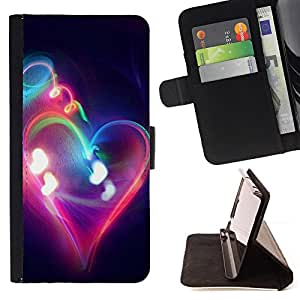 BullDog Case - FOR/Sony Xperia M2 / - / Love Neon Heart Smoke /- Monedero de cuero de la PU Llevar cubierta de la caja con el ID Credit Card Slots Flip funda de cuer