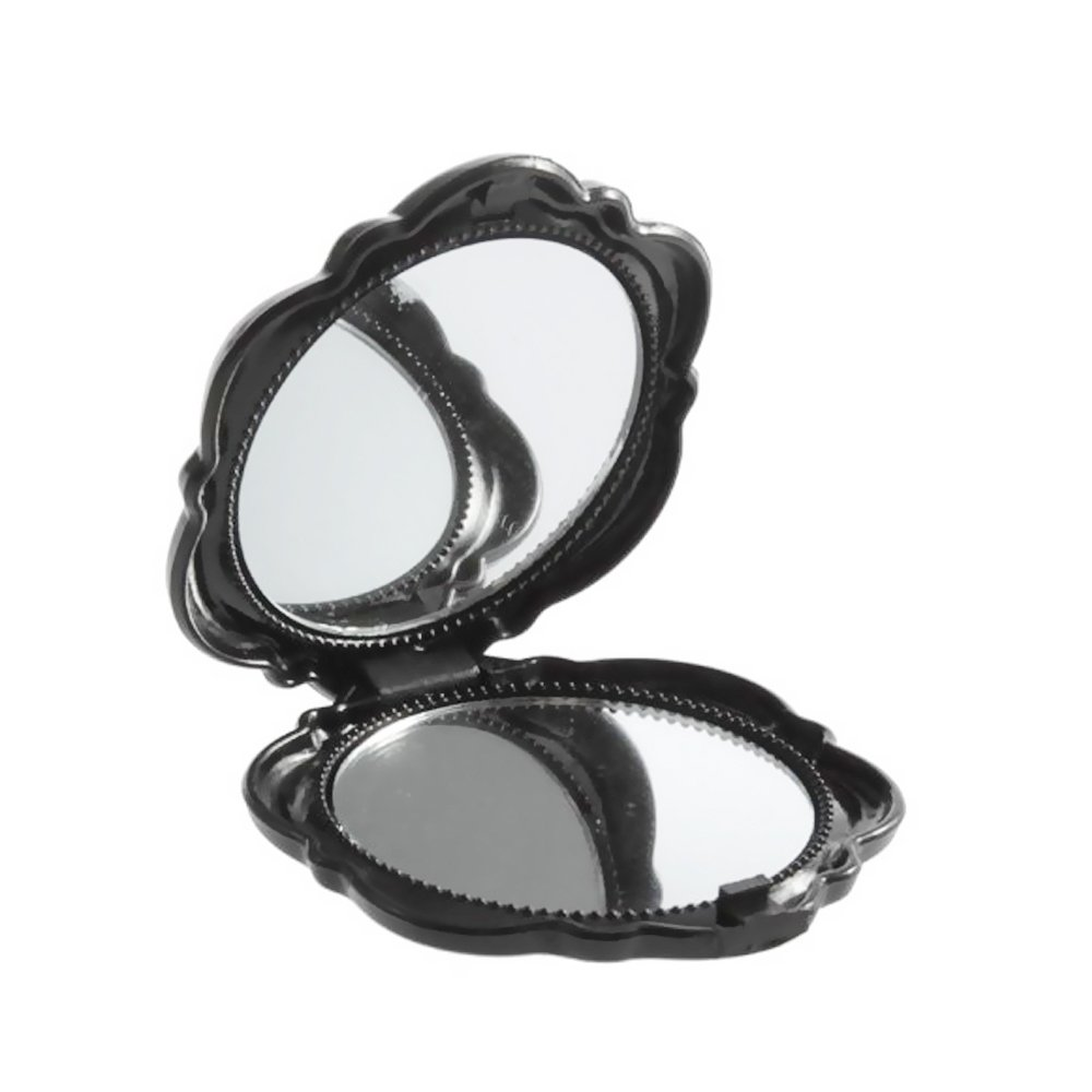 Vintage 3D Rose Floral 2 Sided Cosmetic Compact Mirror MakeUp Party Pocket Size (Black) EYX Formula
