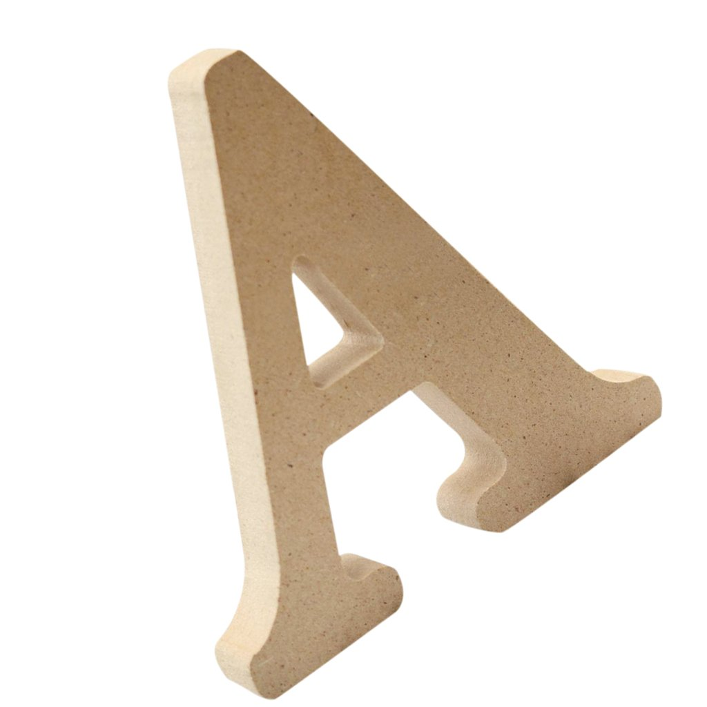 Homyl Lettres Bois Mural Alphabet Letters Sign de A à Z Décoration Rustique Nordique pour Intérieur Extérieur - E