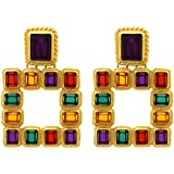 Sanvaree Statement Drop Earrings Gorgeous Colorful Crystal Gold Geometric-Shaped Dangle Earrings for Women Girls (Cleopatra (Gold))