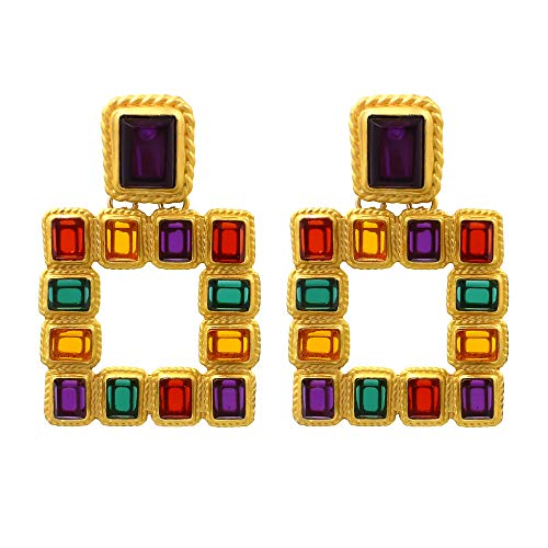 (Sanvaree Statement Drop Earrings Gorgeous Colorful Crystal Gold Geometric-Shaped Dangle Earrings for Women Girls (Cleopatra (Gold)))