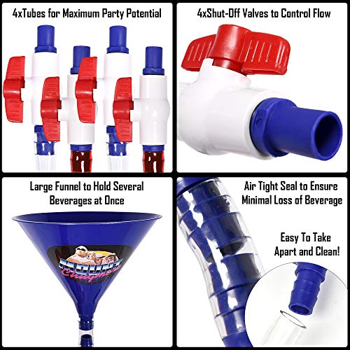 Mount Chugmore Four Person Beer Bong - College Party Drinking Game -  Tailgate Beer Bongs - Spring Break - Bachelor Parties (Mount Chugmore  Original)