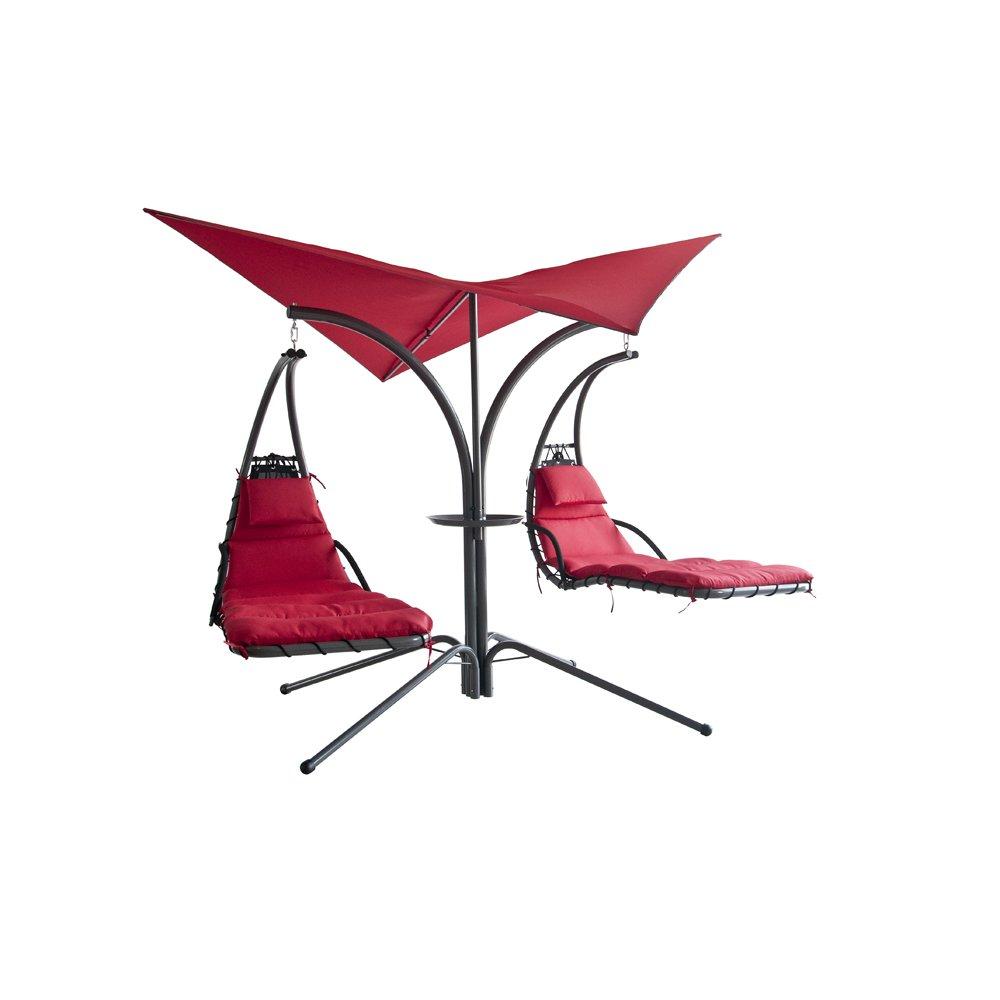 LECO Schwingliege Double Swing, ca. 390x260x225 cm rot