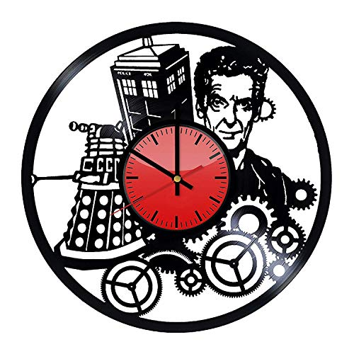 Doctor Who Vinyl Record Wall Clock/Original Gift Idea for Him or Her, Boys or Girls/Cool Home Decor Wall Art/Bedroom Nursery Living Room Decor