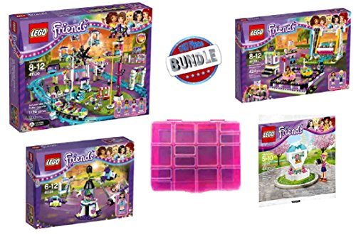 Friends Roller Coaster (Super-Saver Mega Bundle! LEGO Friends Amusement Park Roller Coaster (41130), Bumper Cars (41133) & Space Ride (41128)- PLUS RARE Fountain (30204) Pack & Special PINK Storage Box!)