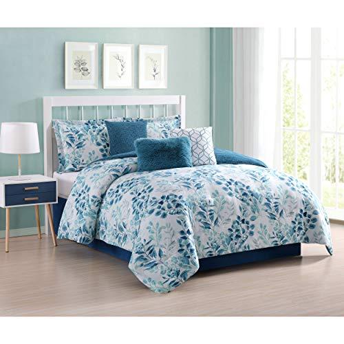 (Carmela Home Martina Comforter Set, Queen, Aqua)